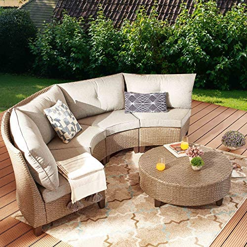 PatioFestival 5 Pieces Outdoor Patio Furniture Sofa Set,Half-Moon Patio Outdoor Sectional Sofa Set Manual Wicker Rattan Patio Conversation Set
