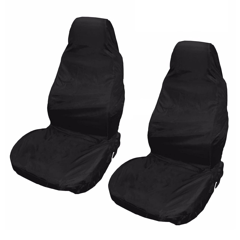 Cubiertas del asiento - SODIAL(R)2 x Universal impermeable Protectores Cubiertas del asiento de camioneta coche de frente de nylon Negro Par