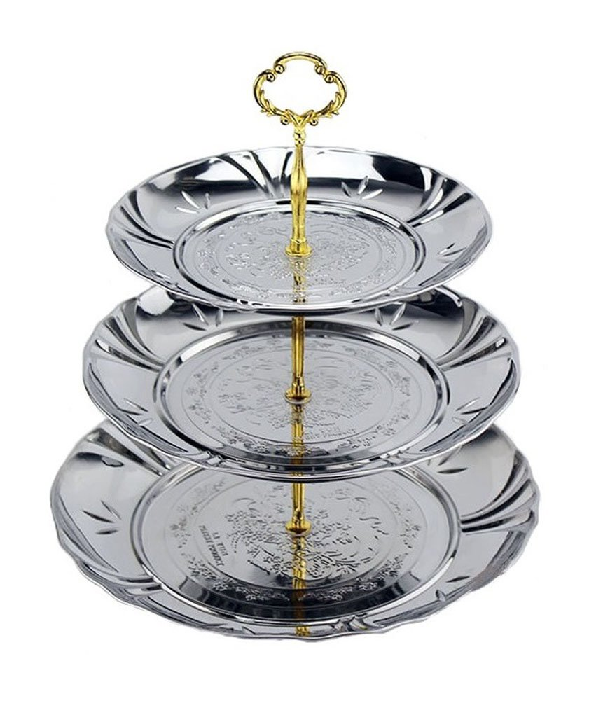Happy Lifestyles 3 Tier Stainless Steel Fruit And Cake Plate Stand COMINHKPR81215
