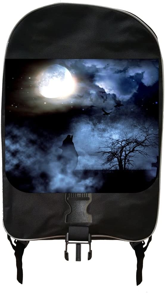 Wolf Howling in a Graveyard Under the Moonlight Backpack and 9 x 5 x 5.5 Pencil Case SET Made in the U.S.A.