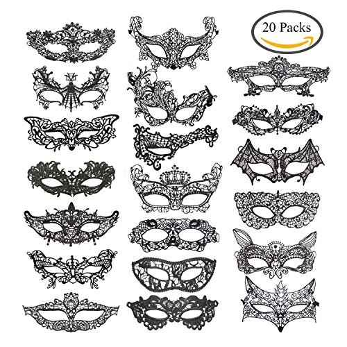 Jtshy 20 Pieces Lace Mask Masquerade Venetian Eyemask Halloween Sexy Woman Lace Mask for Halloween Masquerade Carnival Party Costume Ball, Black ()