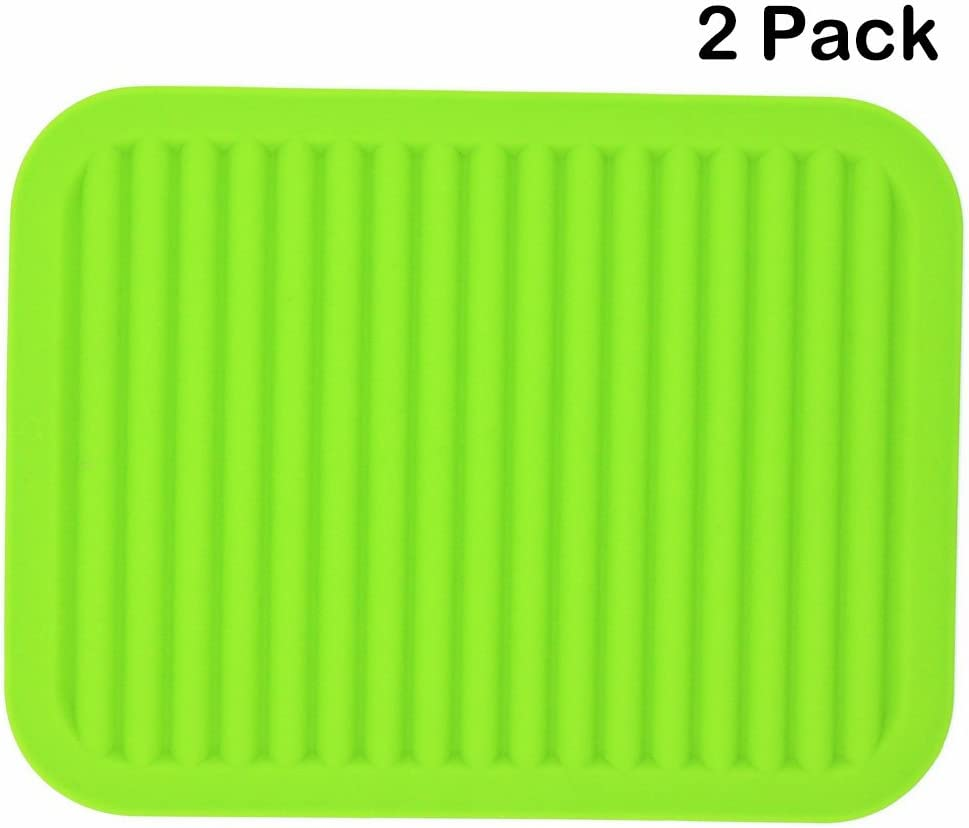 Smithcraft Silicone Trivets Mats for Dishes and Pots, Hot Pads for Countertops, Pot Holders, Set of 2 Color Green