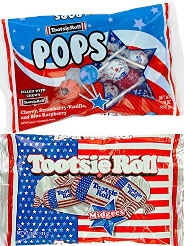 Patriotic Tootsie Roll Midgees 11 Oz & Patriotic Tootsie Roll Pops 9 Oz Combo (Pack of - Patriotic Pals