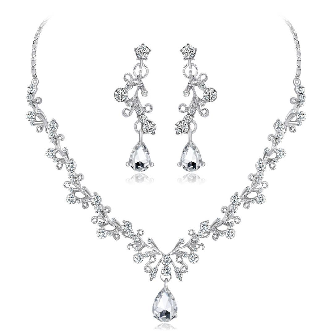 Lanhui Alloy Venetian Pearl Rhinestone Necklace Bracelet Stud Earrings Set Gift in Jewelry Armoires (White)