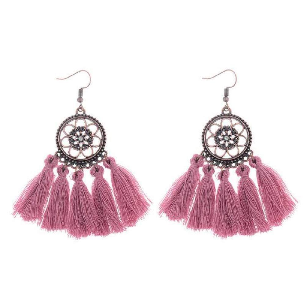 Filigree Copper Medallion Super Long Statement Earrings w//Silk Thread Tassels 2 1//2 Latest Fashion
