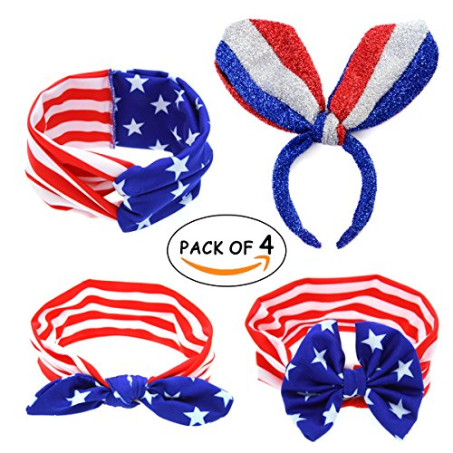 Apol Set Of 4 American Flag Pattern Themed Hair Accessories Headwrap Headband forFlag Day Fourth Of July Independence Day National (National Costume Usa Children)