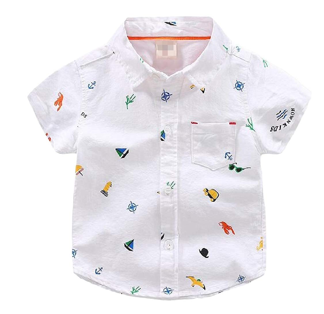 Lutratocro Boys Lapel Adorable Short Sleeve Summer Button Front Print Shirts