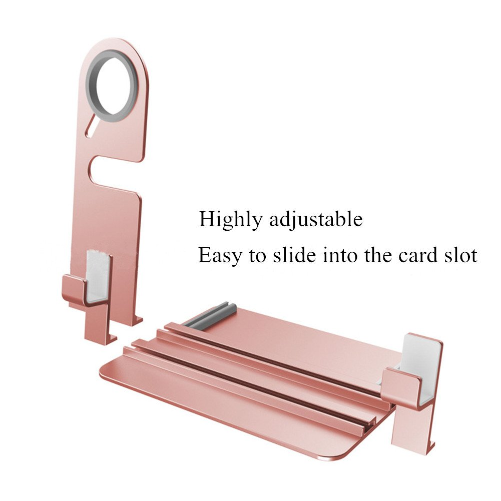 Apple Watch Stand, Apple Watch Charging Holder, Qiandy Smart Watch Charging Docks Station Charger Stand for Apple Watch Series 3/2/1/iPhone X/8/8Plus/7/7 Plus/6S/6S Plus/AirPods/iPad (Pink) by Qiandy (Image #5)