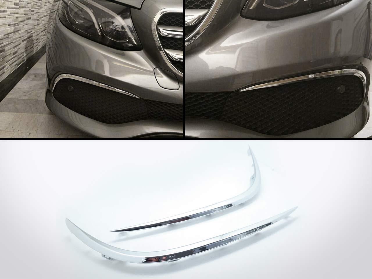 2) Chrome Front Bumper Canards Vent Flaps Trims for Mercedes Benz E