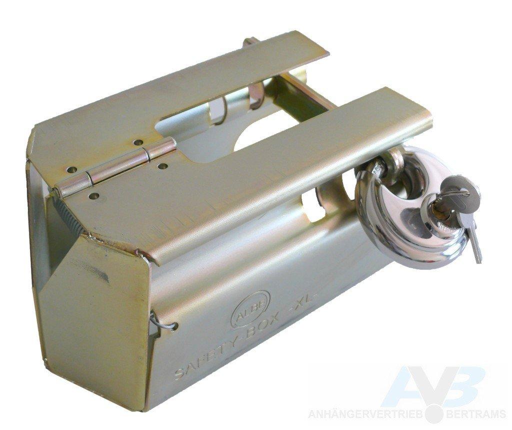 AVB Albe Safety Box XL Diebstahlsicherung mit Vorhangschloß Top Sicherung für an und abgekuppelte Anhänger