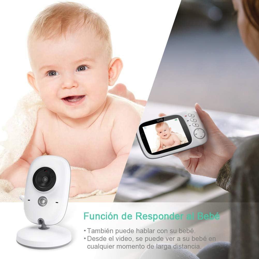GHB B/éb/é Moniteur 3.2 Inches LCD Couleur Babyphone Cam/éra Vid/éo B/éb/é Surveillance 2.4 GHz Bidirectionnelle Vision Nocturne