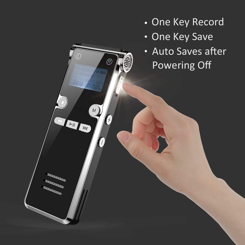 8GB Digitaler Voice Recorder Wiederaufladbar 2 PACK Aufnahmedistanz und MP3-Recorder USB 30mAudio Aufnahmeger/ät mit Spracherkennung f/ür Interviews Meetings Dr.meter Digitales Diktierger/ät