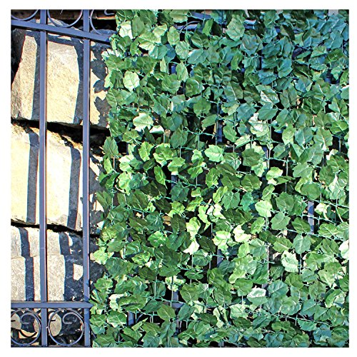 ALEKO ARLF98X39MAPLE Faux Maple Privacy Fence Screen Artificial Hedge Vine Mesh Outdoor Decorative Trellis 98 X 39 Inches Green by ALEKO