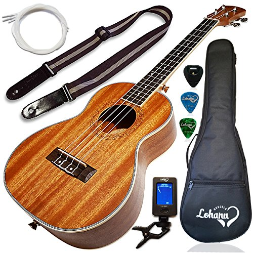 Ukulele Tenor Size Bundle From Lohanu (LU-T) 2 Strap Pins Installed FREE Uke Strap Case Tuner Picks Pick Holder Aquila Strings Installed Free Video Lessons BEST UKULELE BUNDLE DEAL Purchase Today!