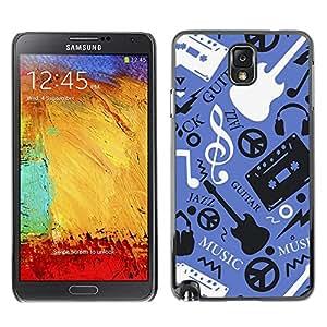 For Samsung Note 3 N9000 - Music Guitar Hippy Pattern /Caja protectora de pl???¡¯????stico duro de la cubierta Dise???¡¯???¡Ào Slim Fit/ - Super Marley S