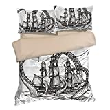 Fantastic Sea Monster Black The Kraken Octopus Cotton Microfiber 3pc 90''x90'' Bedding Quilt Duvet Cover Sets 2 Pillow Cases Queen Size