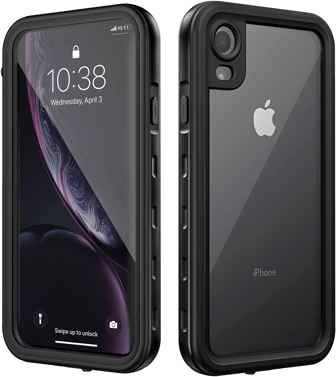 Mpow iPhone XR Waterproof Case, Underwater Full Sealed Cover Snowproof Shockproof Dirtproof Sandproof Ip68 Certified Built-in Screen Protector Waterproof Case Compatible with iPhone Xr(Black)