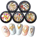 Nail Micro Caviar Beads 3D Nails Supply Studs Gold Nail Art Decorations Charms Metal Jewels 36 Grids Star Moon Heart Triangle Square Rivet Gems for Fingernails & Toenails Decor Manicure Tips...