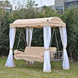 Outsunny Convertible Covered Patio Swing Bed w/ Mesh Side Walls - Beige