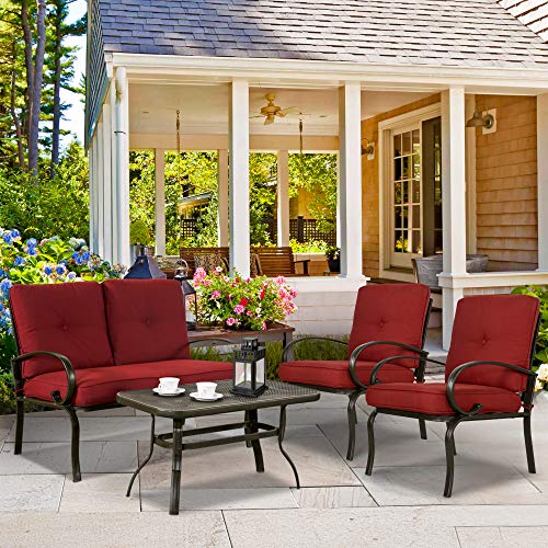 FurniTure Conversation Set Outdoor 4 Piece Conversation Set Patio Conversation Set Garden Cushioned Sofa Set Wrought Iron Coffee Table Loveseat Sofa 2 Chairs, Brick Red