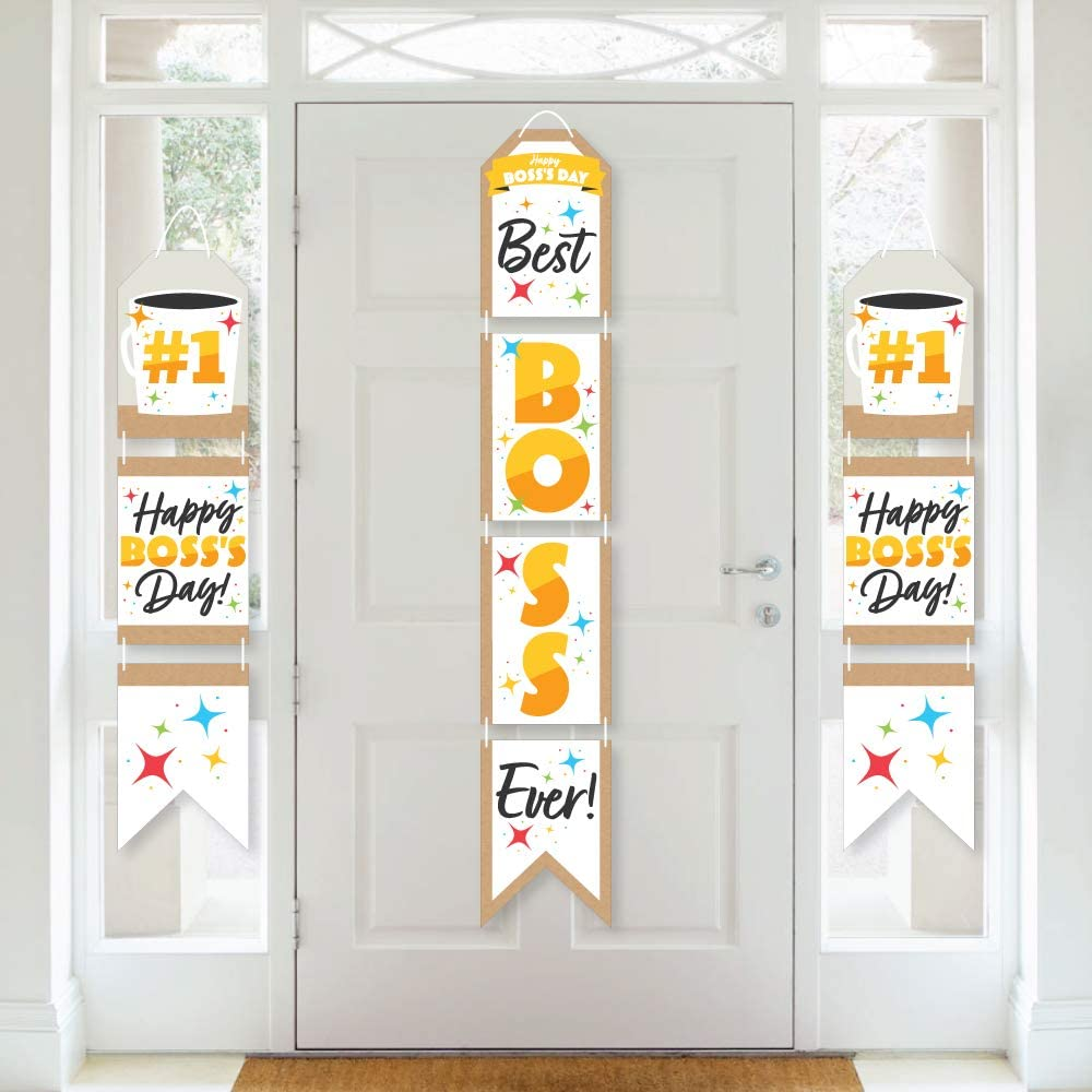 Big Dot of Happiness Happy Boss's Day - Hanging Vertical Paper Door Banners - Best Boss Ever Wall Decoration Kit - Indoor Door Decor