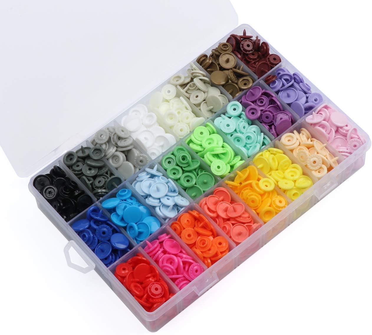 ilauke Botón Presión, 24 Colores de 408 Piezas de Plástico Presiones de 12 mm T5