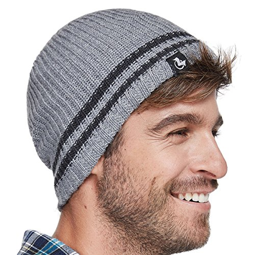 (LETHMIK Merino Wool Skull Beanie,Mens Daily Warm Soft Winter Hat Stripe Mix Knit Cap Light Grey)