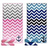Ricdecor Beach Towel Large Beach Blanket Towel Pack of 2 Ultra Soft Super Water Absorbent Multi-Purpose Beach Throw Oversized 31.5'' x 63'' By