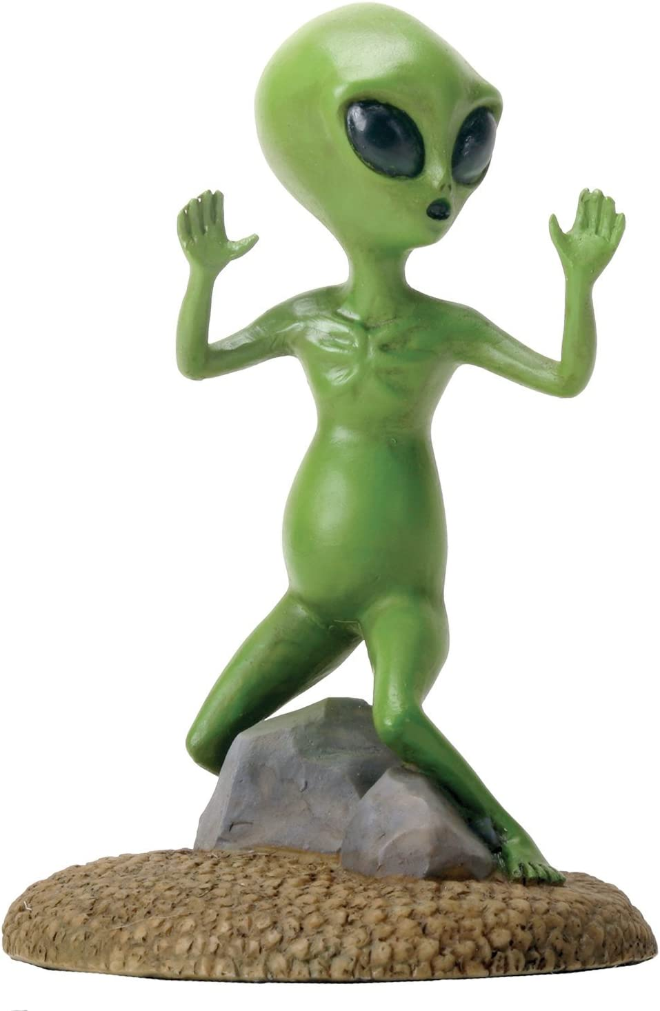YTC Small Green Colored Alien Figurine Statue with Hands Up Escaping