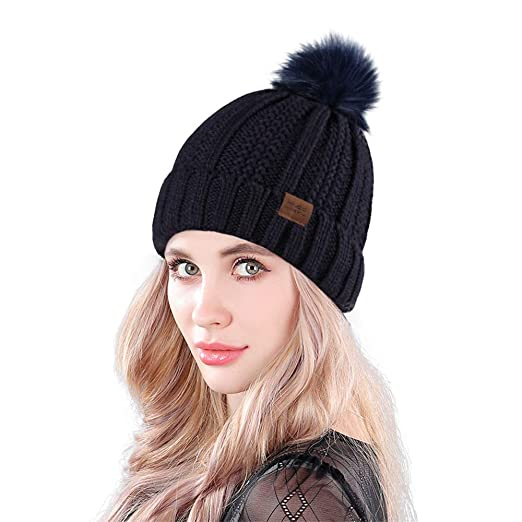 Amazon.com  MUCO Womens Beanie Winter Hat Knit Chunky Faux Fur Warm ... d051b3c2feb