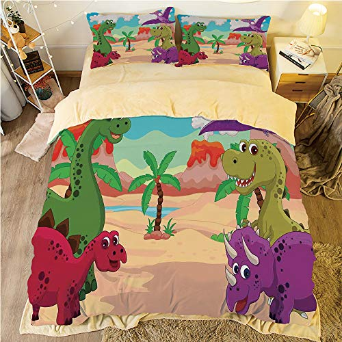 (Flannel 4 Piece Cotton Queen Size Bed Sheet Set for bed width 5ft Winter Holiday Pattern Customized bedding for boys and young children,Jurassic Decor,Dinosaur Cartoon Happy Palm Tree Hills Volcano Se)