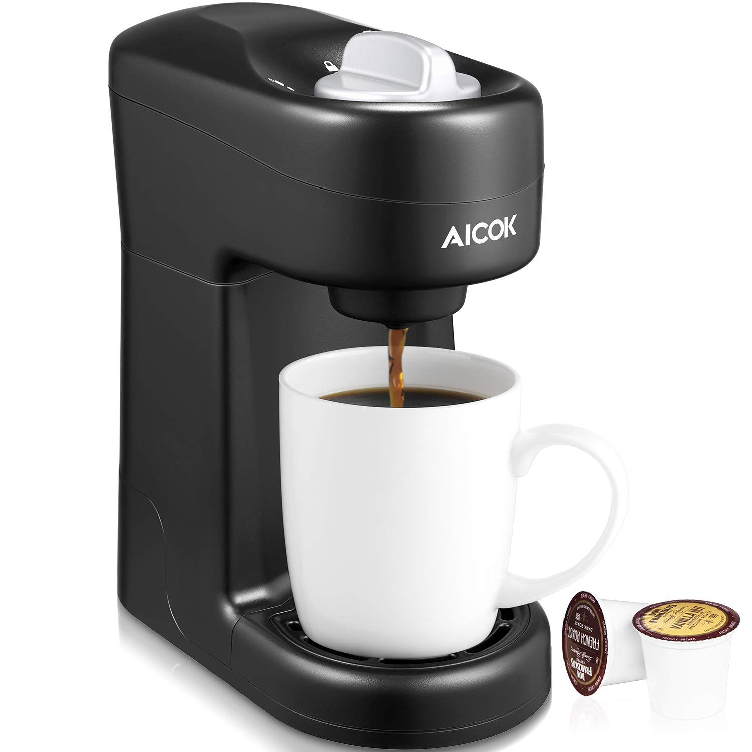 Aicok Single Serve Coffee Maker, Single Cup Coffee Brewer with One-Touch Buttons for Most Single Cup Pods including K-CUP Pods, Quick Brew Technology, 800W, Black