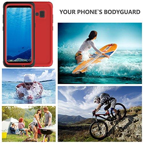 Impermeable Funda Samsung galaxy S8 Plus, Moonmini Ultra delgado Water Resistente Cuerpo Completo Proteccion Militar Robusto Estuche Protector Con el Diseño del Botón y la Función Touch ID Case Para S rojo