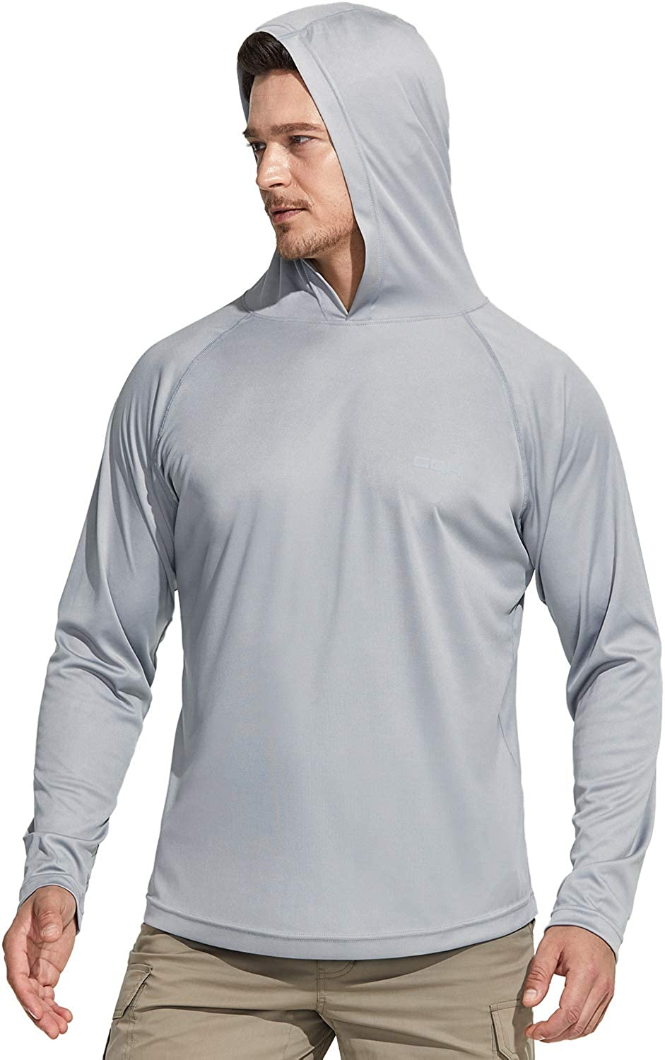 UV//SPF Quick Dry Loose-Fit Outdoor Shirts CQR Mens UPF 50 Performance Running Workout Shirt Pull Over Long Sleeve Hoodie