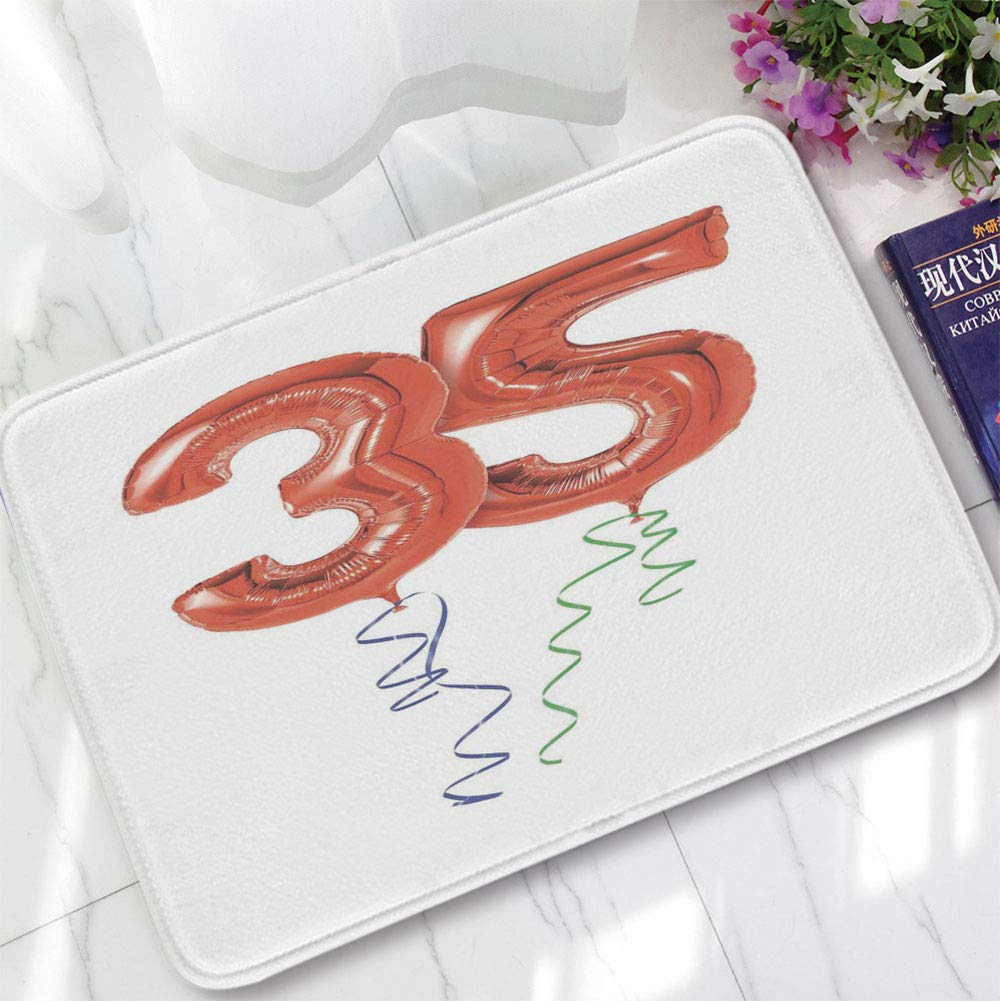 YOLIYANA Bath Mat,35th Birthday Decorations,for Dining Room Bathroom Office,15.75''x23.62'',Vivid Colored Balloons Flying with Curly