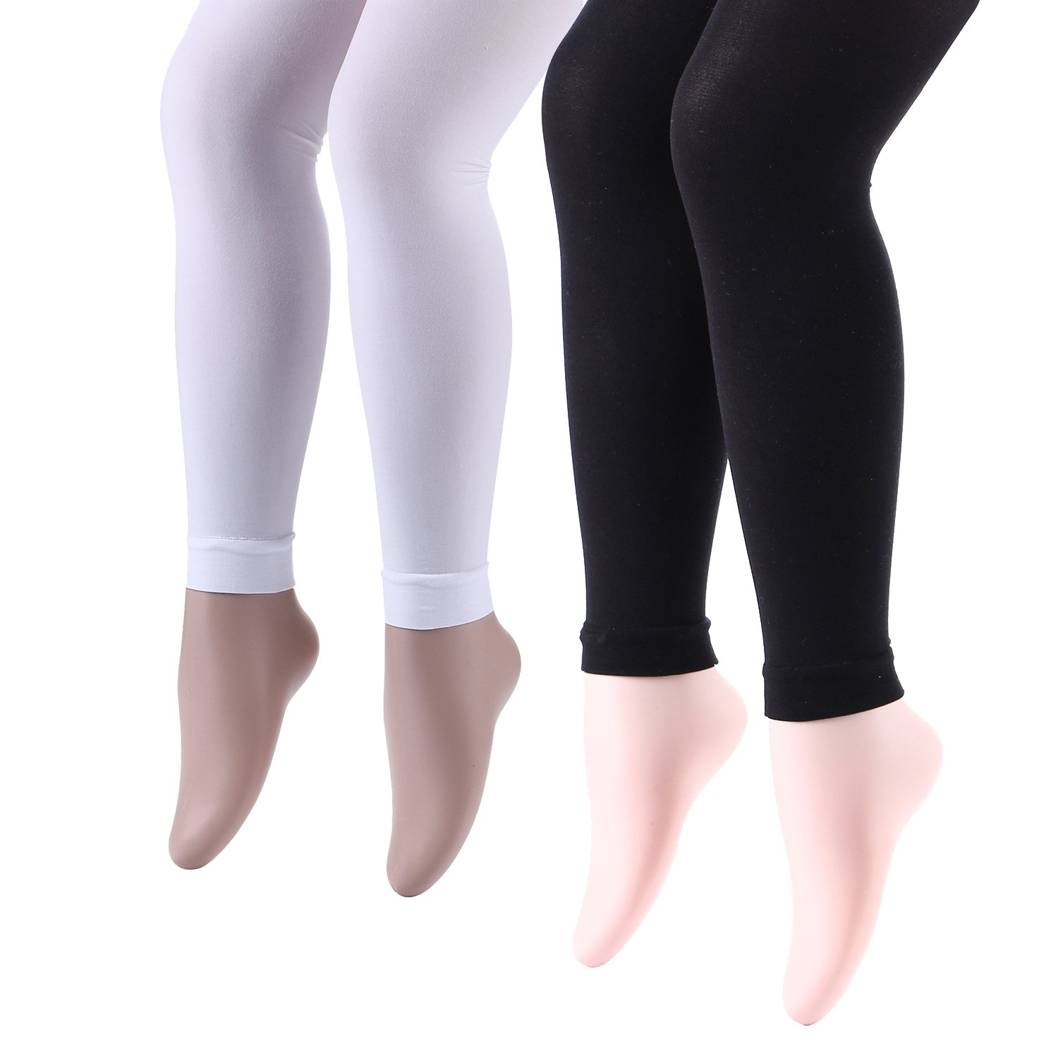Elitimmy Big Girls Black and White 2 Pairs Footless Tights (7Y-9Y)