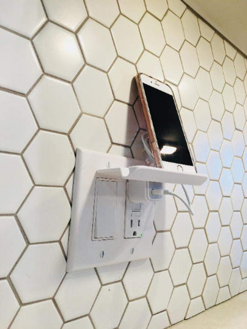 Outlet Wall Decor Phone Stand Stocking Stuffer Phone Holder Stand Wall Mount Tablet Charger Organization Phone Storage Charging Station