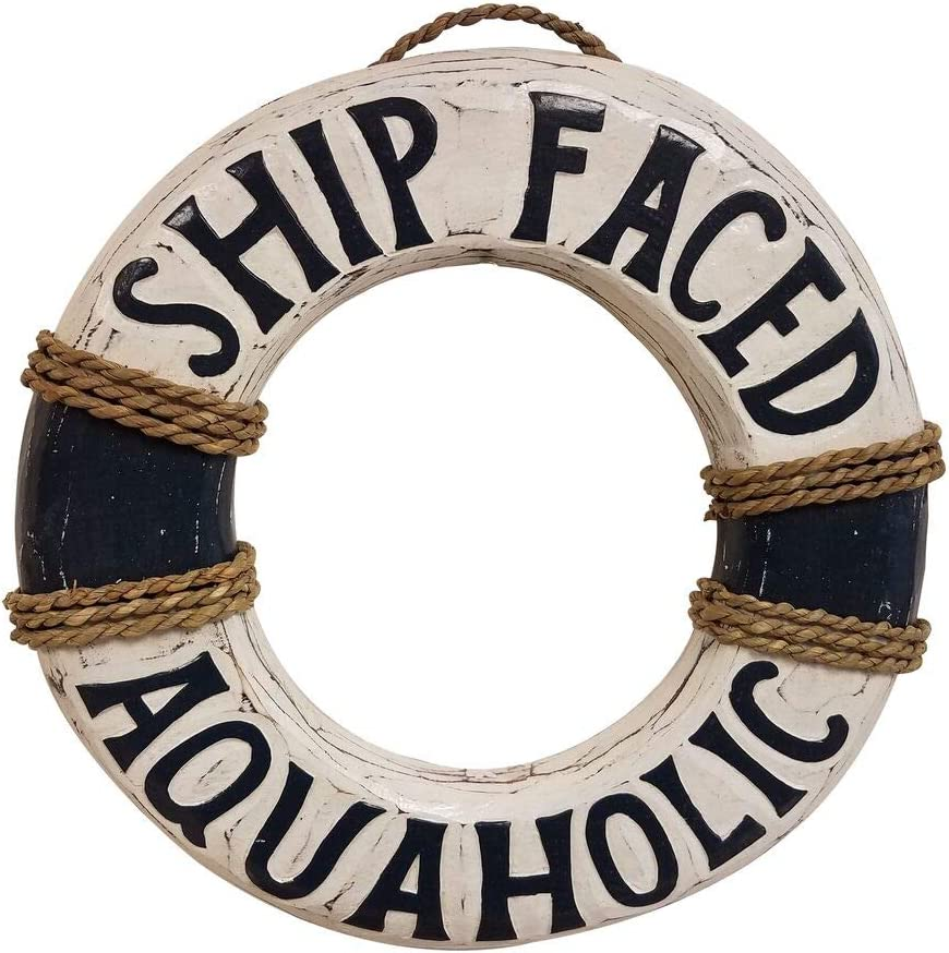 "All Seas Imports 12"" x 12"" HANDCARVED & Painted Wood Distressed Look Blue Ship Faced Aquaholic Beach Decor Life Ring Sign!"