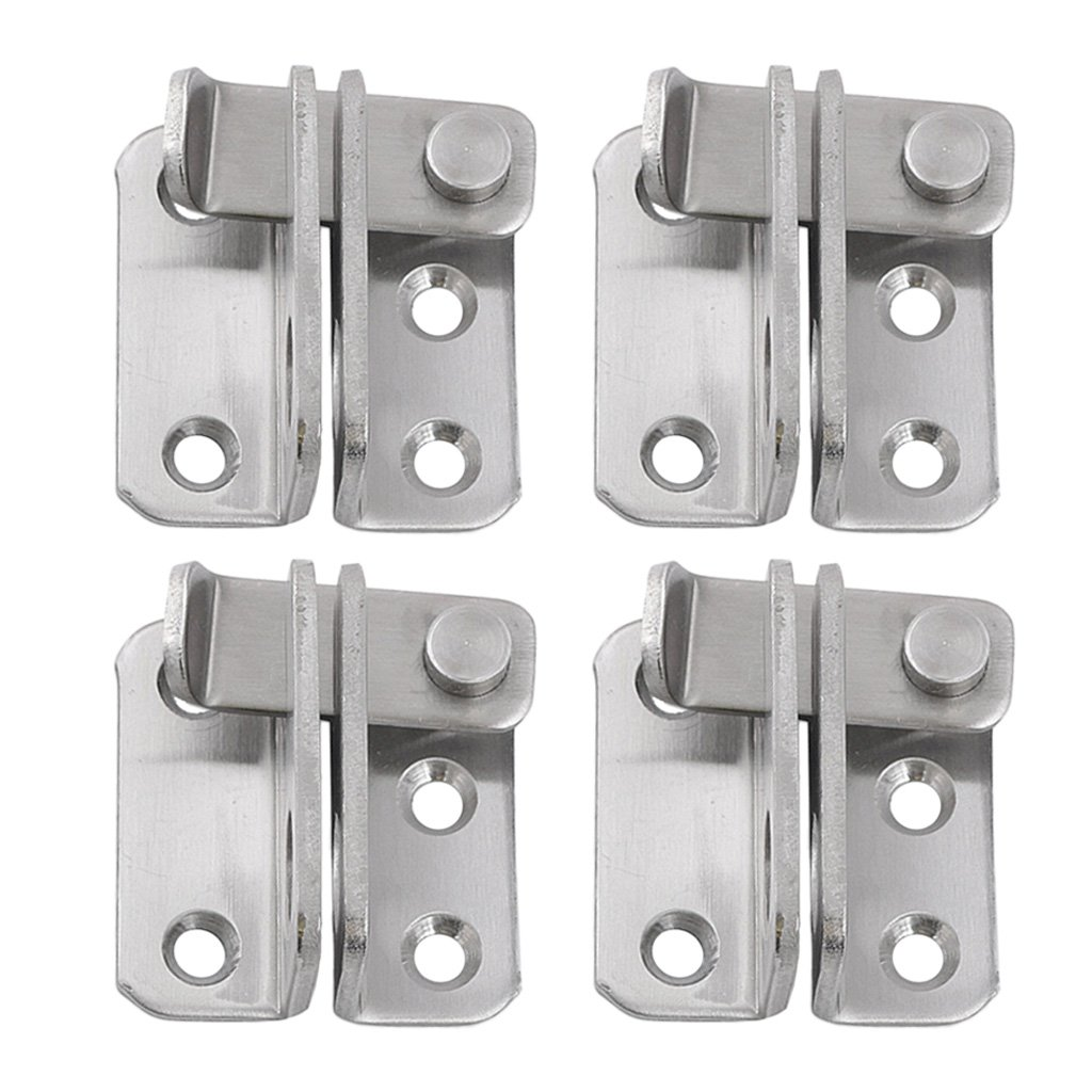 Baoblaze 4pcs Stainless Steel Safety Door Latches Gate Latches Lock Buckle for Pet Gate Cabinet Furniture Window Brushed Finish Right Open