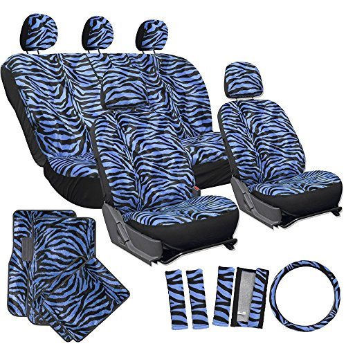 OxGord 21pc Leopard Print Car Seat Cover andCarpet Floor Mat Cheetah Set for Car, Truck, Van, SUV