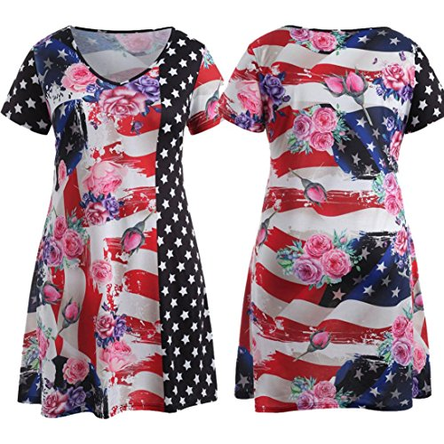 Owill Large Size Women Flag Printing Short Sleeve Mini Dress Evening Party Dress (Red, - Superstar 2 Casual Shoe Lace