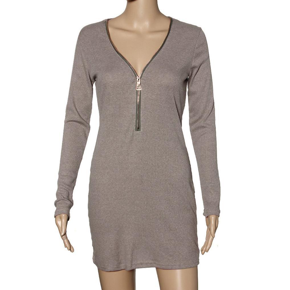 GOTD 2016 Spring Sexy Women Zip V Neck Long Sleeve Bodycon Party Dresses (L, Gray) by GOTD (Image #4)