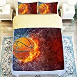 Fashionable Basketball 4 Piece Duvet Cover Set Queen Size