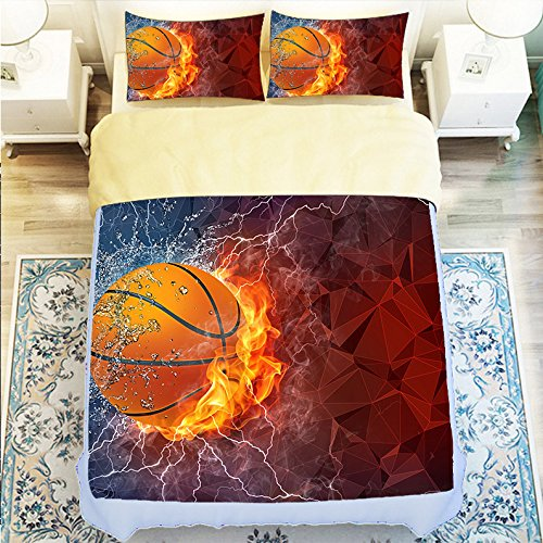 Fashionable Basketball 4 Piece Duvet Cover Set Queen Size by Bedsets