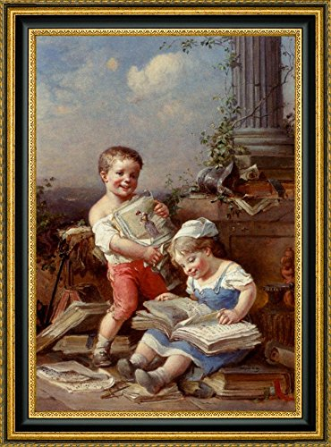 Soap Bubbles and ReadingについてファッションPic 1 by francois-louis Lanfant de Metz Framed Gicleeキャンバスアートプリント – Ready To Hang 7