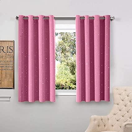 WINYY Silver Printed Stars Pink Semi Blackout Curtain Kids Girls Bedroom  Living Room Thermal Insulated
