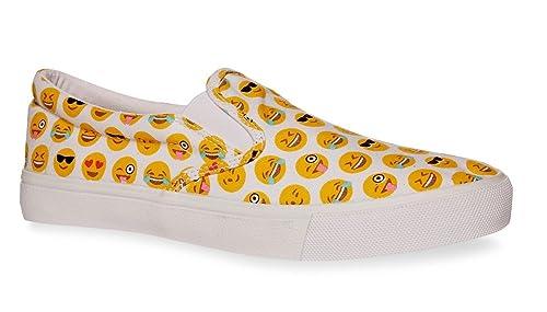 Primark Niñas Blanco Imagen carta Slip On Zapatillas Sneakers Emoji iconos Reino Unido 5 - 7 EU 38 - 40, color Blanco, talla 38: Amazon.es: Zapatos y ...
