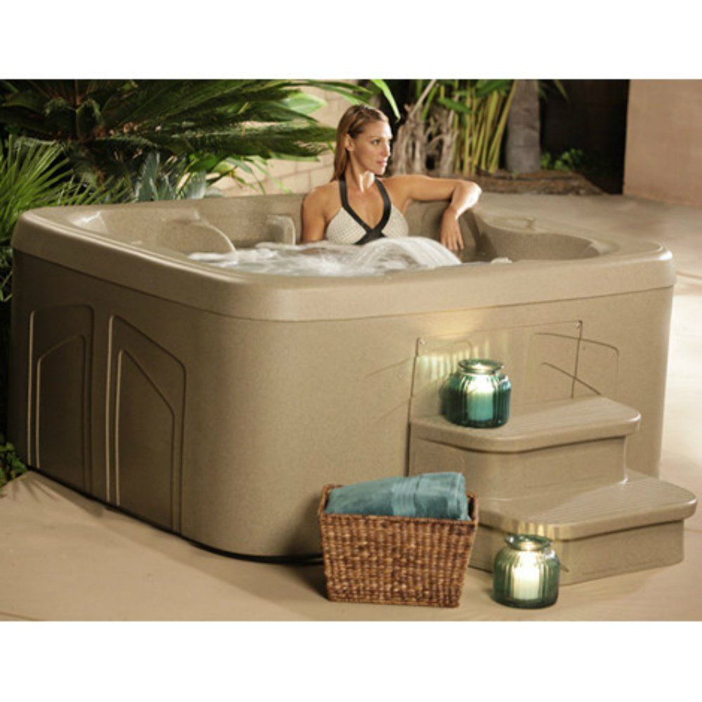 4 Person Hot Tub with 20 Stainless Steel Jet Plug & Play Spa Waterfall