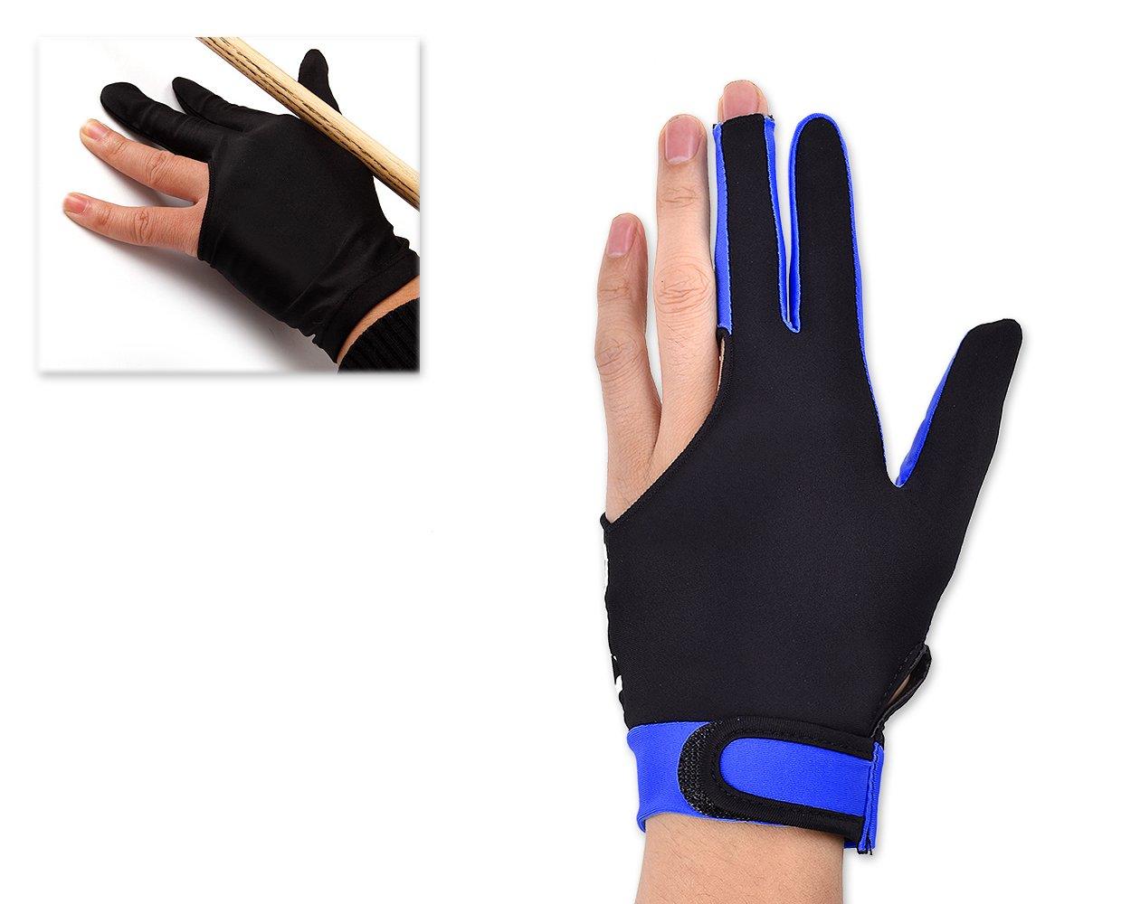 DSstyles 1 pieza de lycra el/ástica 3 dedos de piscina y billar Snooker guante talla M Azul