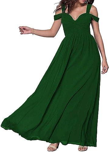 ISABUFEI sukienka wieczorowa, sukienka balowa, damska, długa, szyfonowa, z dekoltem w szpic, ze sznurowaniem: Odzież
